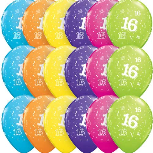 "11"" Age 16 Tropical Assorted Latex Balloons 6pk"