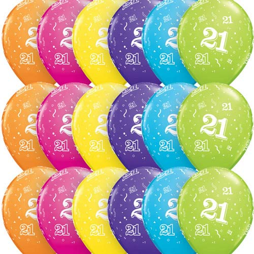 "11"" Age 21 Tropical Assorted Latex Balloons 6pk"