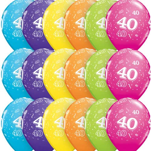 "11"" Age 40 Tropical Assorted Latex Balloons 6pk"