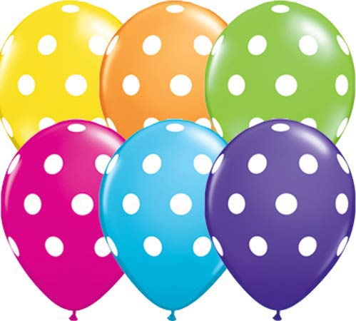"11"" Big Polka Dots Assorted Latex Balloons 6pk"