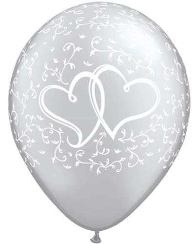 "11"" Silver Entwined Hearts Latex Balloons 25pk"