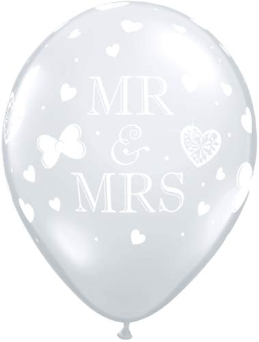 "11"" Mr And Mrs Diamond Clear Latex Balloons 50pk"