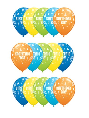 "11"" Birthday Boy Latex Balloons 25pk"