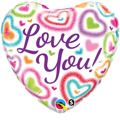 "18"" Love You Fuzzy Hearts Foil Balloons"