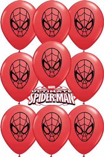 "5"" Ultimate Spider Man Face Latex Balloons 100pk"