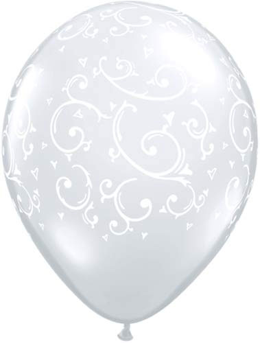 "11"" Filigree & Hearts Diamond Clear Latex Balloons 50pk"