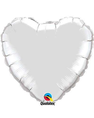 "9"" Silver Heart Foil Balloon"