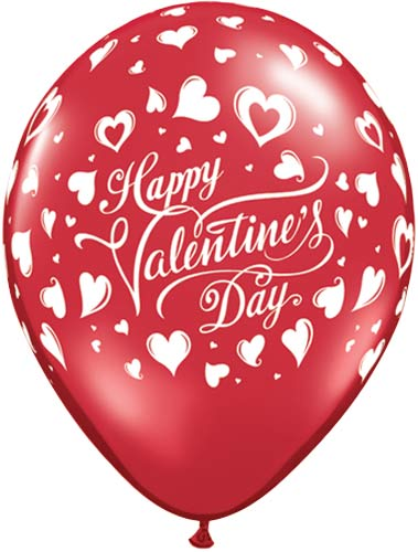 "11"" Ruby Red Valentines Classic Hearts Latex Balloons 6pk"