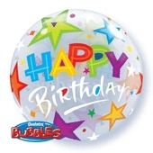 "22"" Birthday Brilliant Stars Single Bubble Balloons"