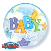 "22"" Baby Boy Moon Single Bubble Balloons"
