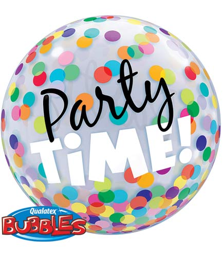 "22"" Party Time Colourful Dots Single Bubble Balloons"