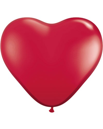 "15"" Ruby Red Heart Latex Balloons 50pk"
