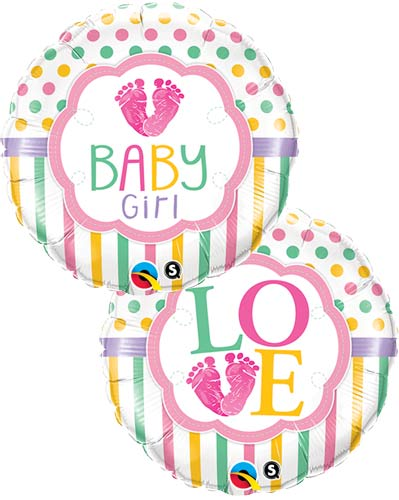 "18"" Baby Girl Love Feet Foil Balloons"