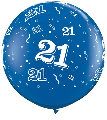 3ft Sapphire Blue 21 Around Giant Latex Balloons 2pk