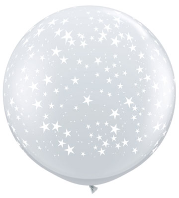 3ft Diamond Clear With White Stars Giant Latex Balloons 2pk