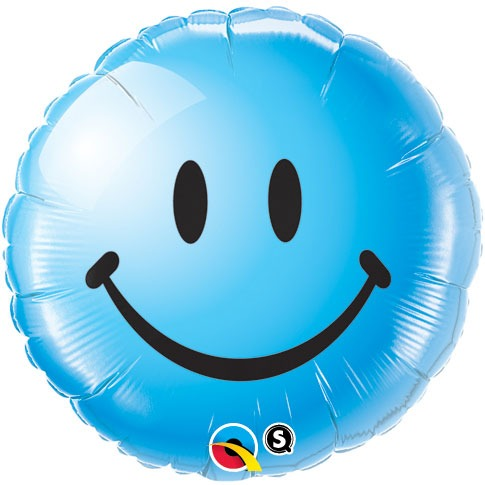 "18"" Smiley Face Blue Foil Balloons"