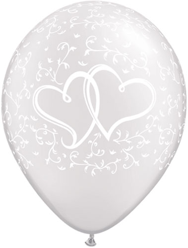 "11"" Entwined Hearts Pearl White Latex Balloons 25pk"