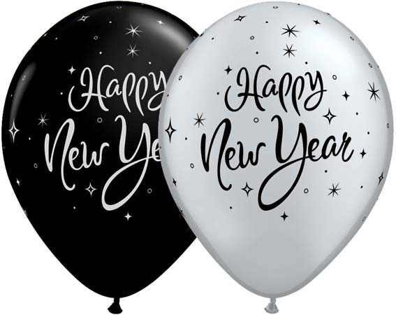 "11"" New Year Sparkle Latex Balloons 25pk"
