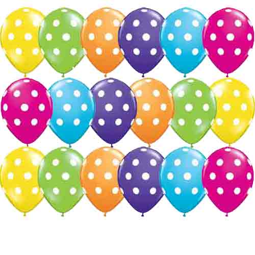 "5"" Big Polka Dots Tropical Assorted Latex Balloons 100pk"