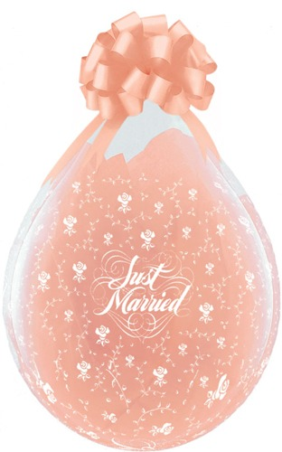 "18"" Just Married Flowers-A-Round Stuffing Latex Balloons 25pk"