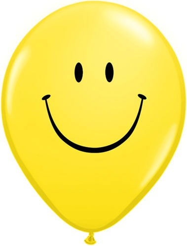 "16"" Smile Face Yellow Latex Balloons 50pk"