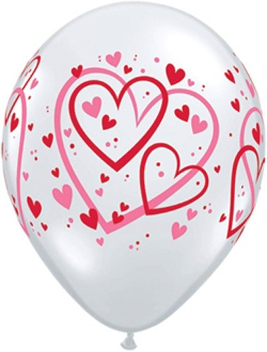 "11"" Red And Pink Pattern Hearts Latex Balloons 50pk"