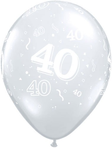 "11"" 40 Around Diamond Clear Latex Balloons 50pk"