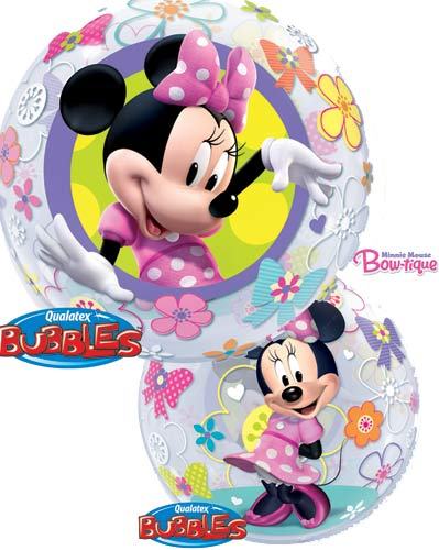"22"" Minnie Mouse Bow Tique Single Bubble Balloons"