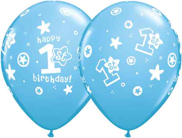"11"" 1st Birthday Circle Stars Boy Latex Balloons 25pk"