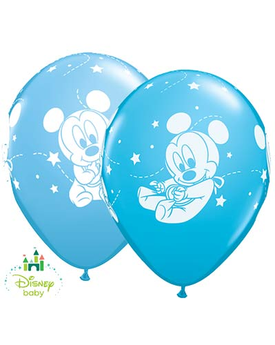 "11"" Disney Baby Mickey Stars Latex Balloons 25pk"
