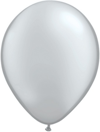 "5"" Metallic Silver Latex Balloons 100pk"