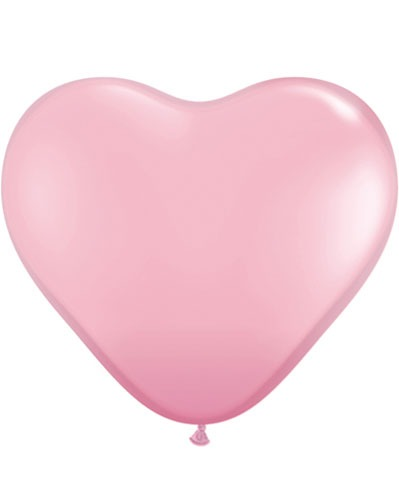 "6"" Pink Heart Latex Balloons 100pk"