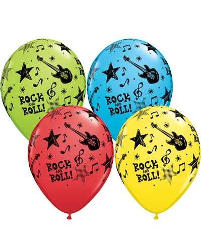 "11"" Rock & Roll Stars Latex Balloons 25pk"