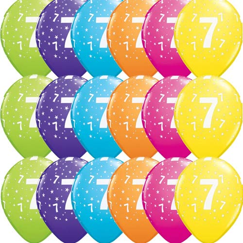 "11"" 7 Stars Tropical Assorted Latex Balloons 25pk"