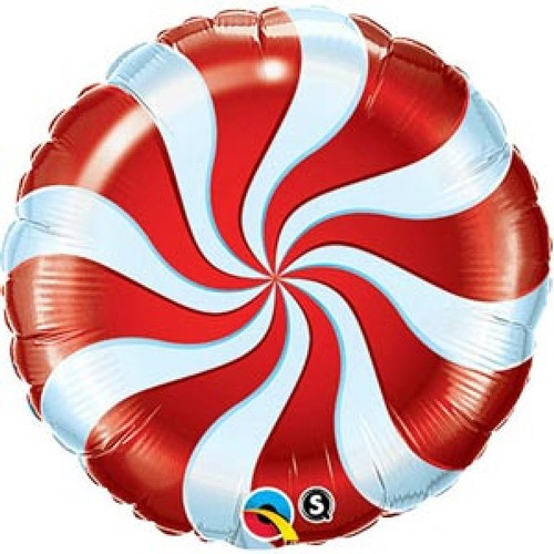 "18"" Candy Swirl Red Foil Balloons"