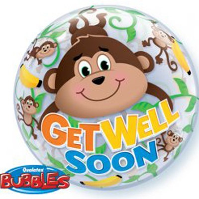 "22"" Get Well Soon Monkeys Single Bubble Balloons"
