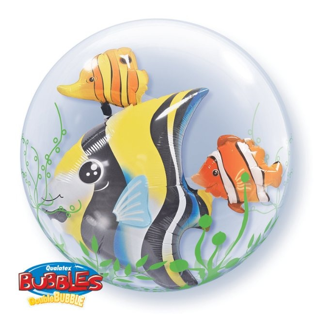 "24"" Seaweed Tropical Fish Double Bubble Balloons"
