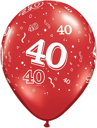 "11"" 40 Around Ruby Red Latex Balloons 25pk"
