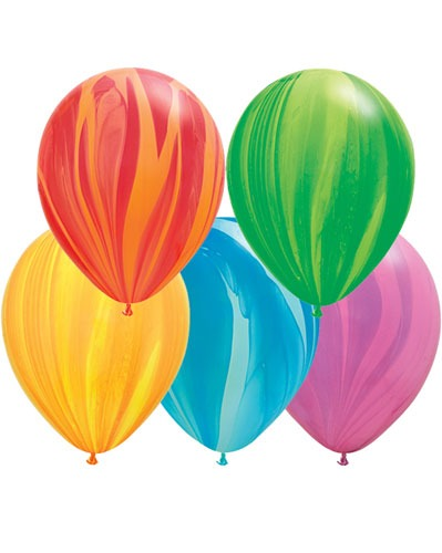 "11"" Rainbow Super Agate Latex Balloons 100pk"