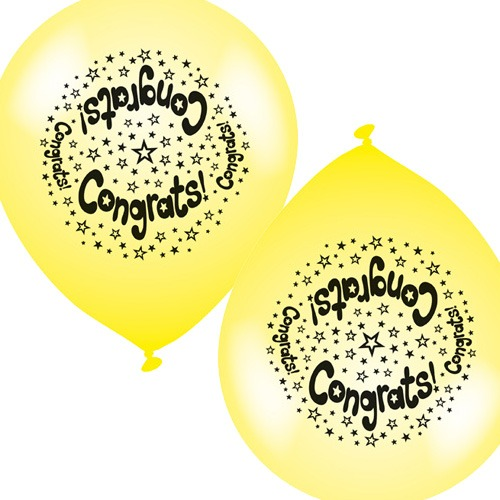 "10"" Congrats Latex Balloons 6 Packs Of 8"
