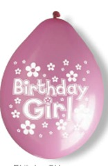 "10"" Happy Birthday Girl Latex Balloons 6 Packs Of 10"