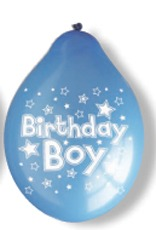 "10"" Birthday Boy Latex Balloons 6 Packs Of 10"