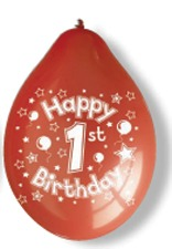 "10"" Happy 1st Birthday Latex Balloons 6 Packs Of 10"