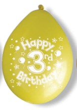 "10"" Happy 3rd Birthday Latex Balloons 6 Packs Of 10"