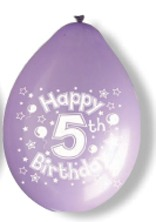 "10"" Happy 5th Birthday Latex Balloons 6 Packs Of 10"