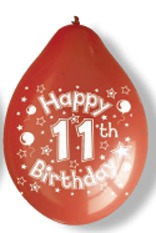 "10"" Happy 11th Birthday Latex Balloons 6 Packs Of 10"
