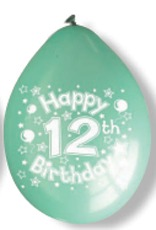 "10"" Happy 12th Birthday Latex Balloons 6 Packs Of 10"