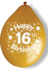 "10"" Happy 16th Birthday Latex Balloons 6 Packs Of 10"