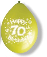 "10"" Happy 70th Birthday Latex Balloons 6 Packs Of 10"