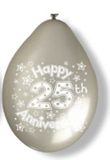 "10"" 25th Anniversary Latex Balloons 6 Packs Of 10"